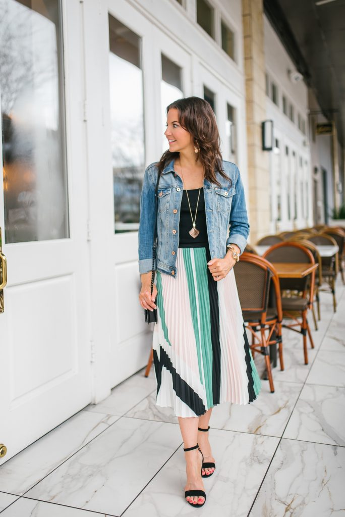 spring outfit | pleated midi skirt | rose gold necklace | Houston Fashion Blogger Lady in Violet