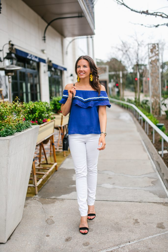 summer outfit | blue off the shoulder top | white jeans | Houston Fashion Blogger Lady in Violet