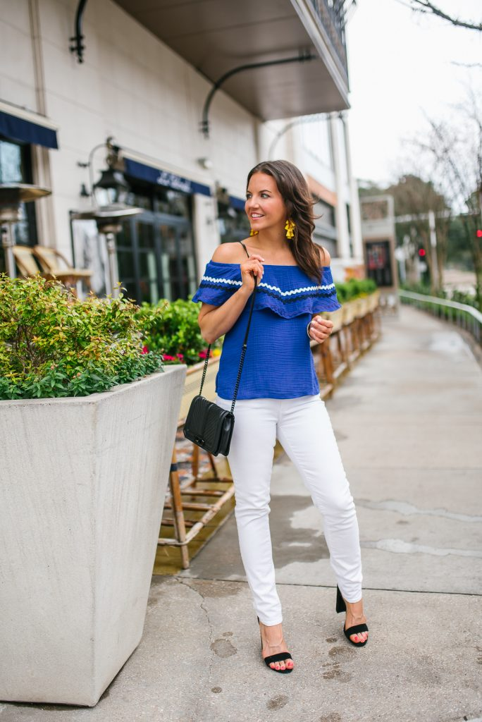 casual summer outfit | blue off the shoulder top | white denim | Petite Fashion Blogger Lady in Violet