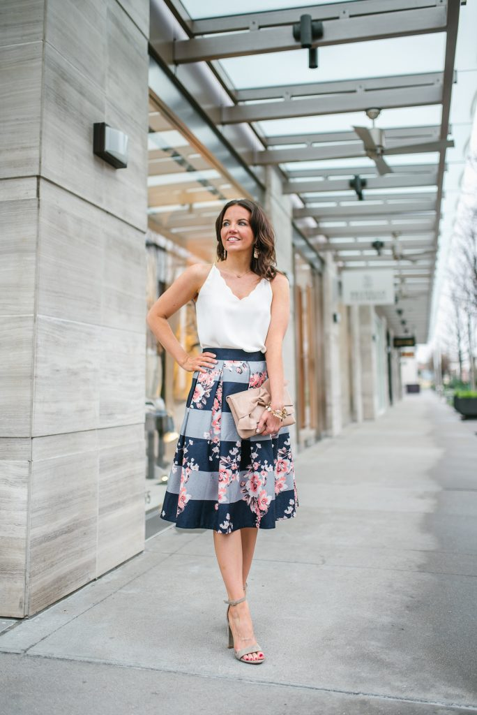 church outfit | ivory cami | blue midi skirt | Houston Fashion Blogger Lady in Violet