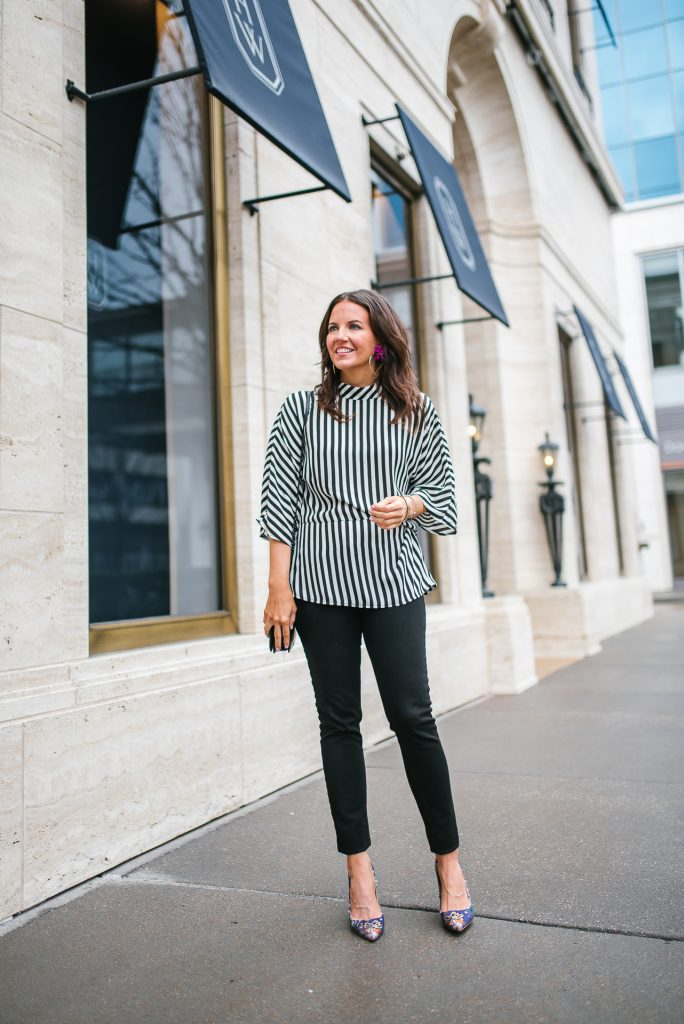 Fall outfits | striped top | black skinny jeans | Petite Fashion Blogger Lady in Violet
