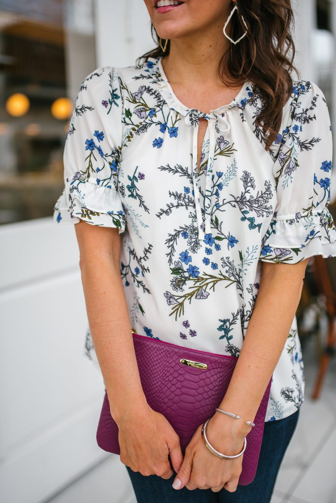 floral top for spring | dark pink clutch | Houston Fashion Blogger Lady in Violet