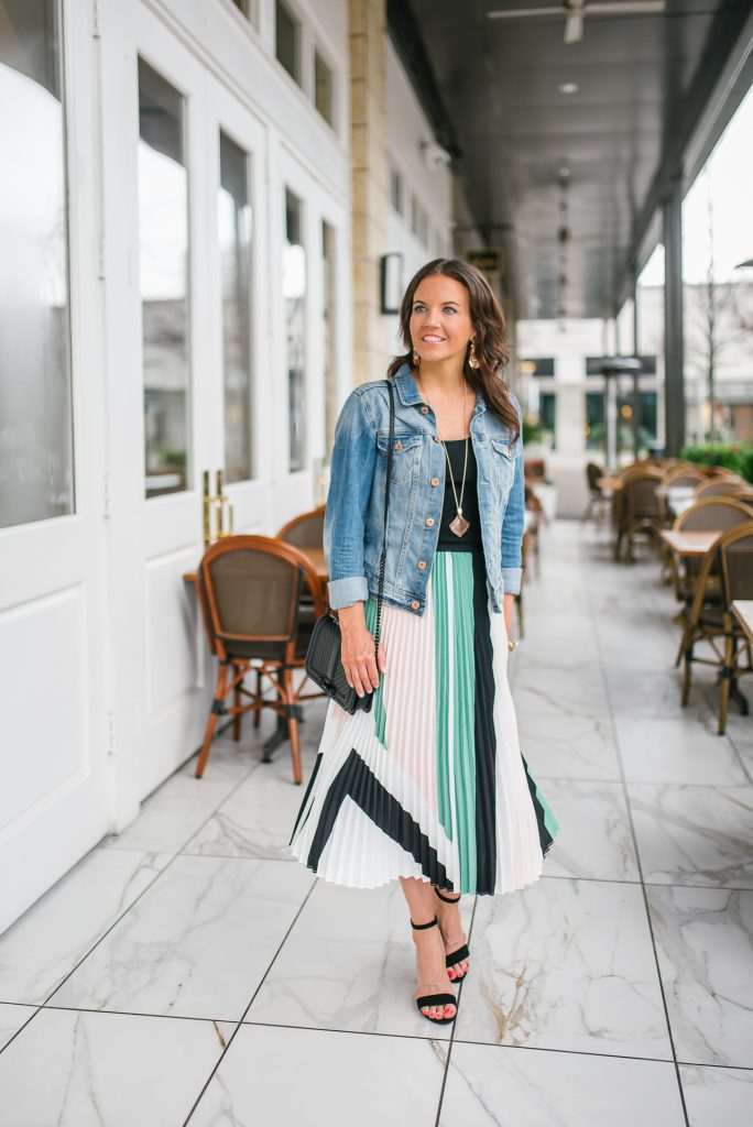 Spring office outfit | pleated midi skirt | denim jacket | Petite Fashion Blogger Lady in Violet