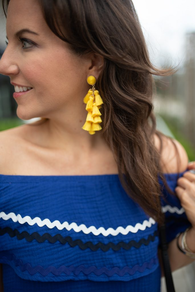 affordable spring fashion | yellow tassel statement earrings | Houston Fashion Blogger Lady in Violet