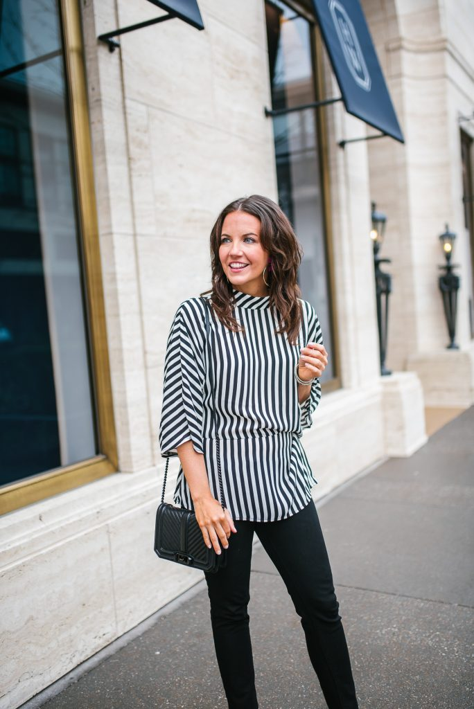 Casual outfit | striped top | black jeans | Petite Fashion Blogger Lady in Violet