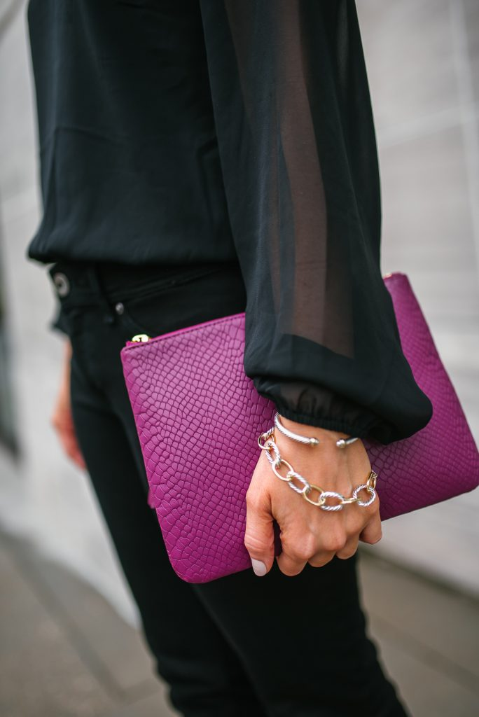 Date night outfit | dark pink clutch | links bracelet | Houston Fashion Blogger Lady in Violet