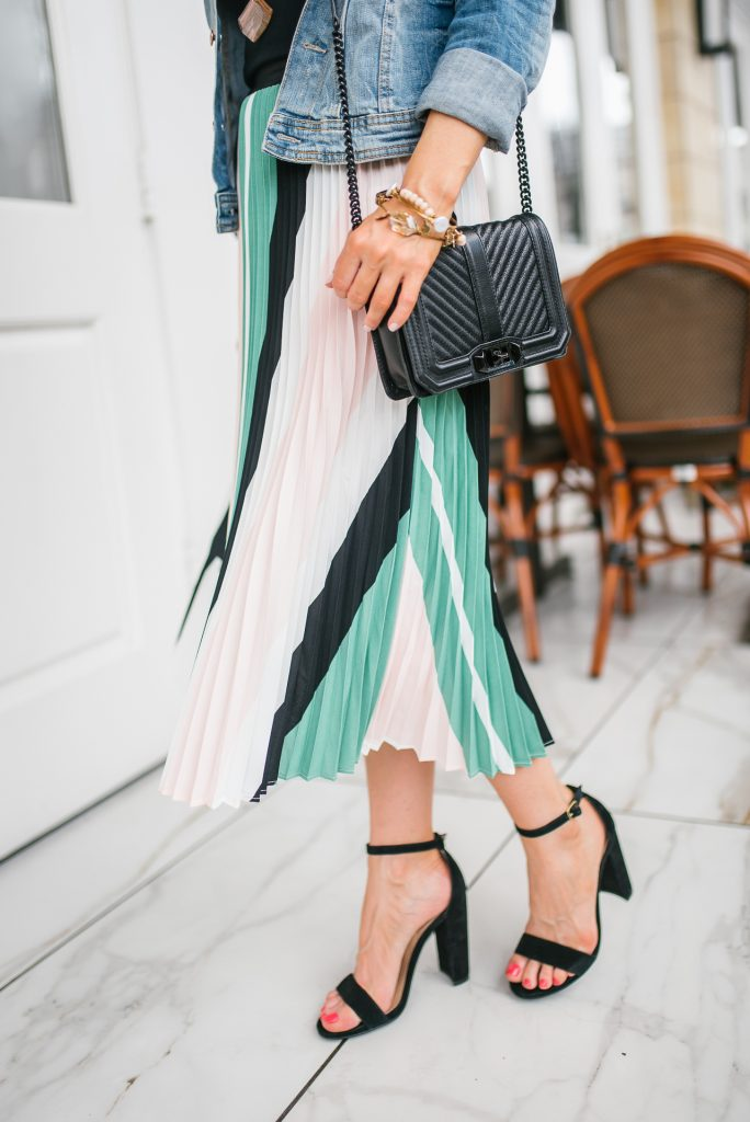 spring workwear | pleated midi skirt | block heel sandals | Petite Fashion Blogger Lady in Violet