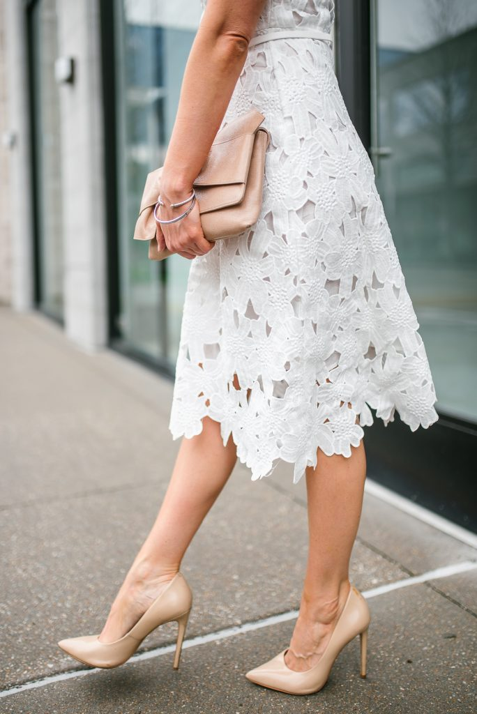 white lace dress | spring outfits | nude colored heels | Petite Fashion Blogger Lady in Violet