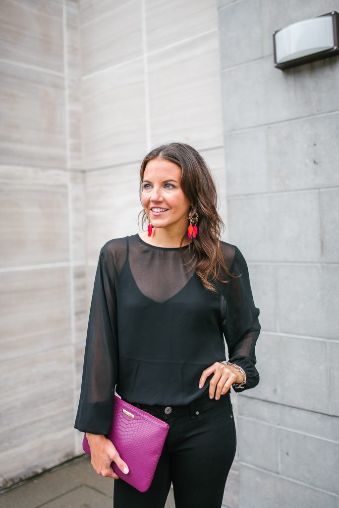 Fall outfits | sheer black bodysuit | feather earrings | Houston Fashion Blog Lady in Violet