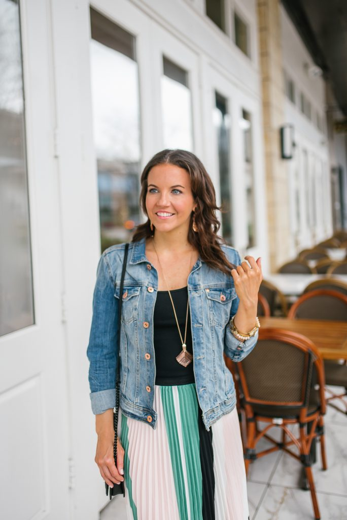 Layered spring outfit | denim jacket | black tank top | Houston Fashion Blogger Lady in Violet