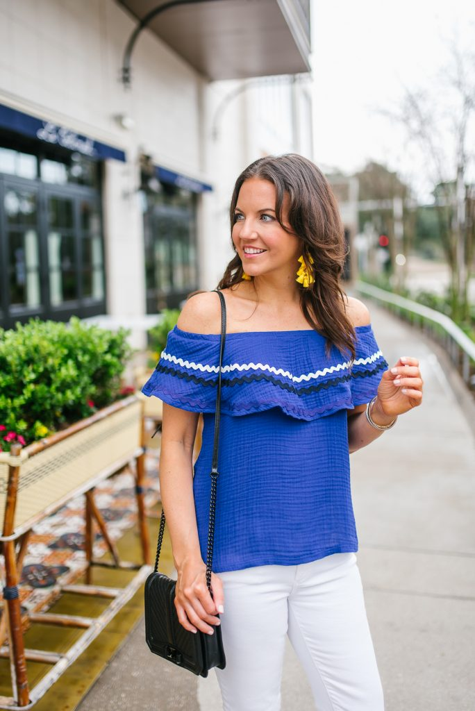 spring outfit | blue ruffle off the shoulder top | yellow earrings | Houston Fashion Blogger Lady in Violet