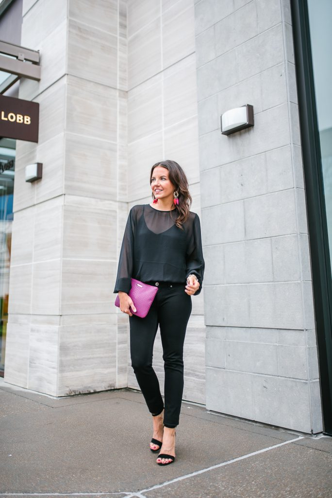 petite outfit | black bodysuit | skinny jeans | Houston Fashion Blog Lady in Violet