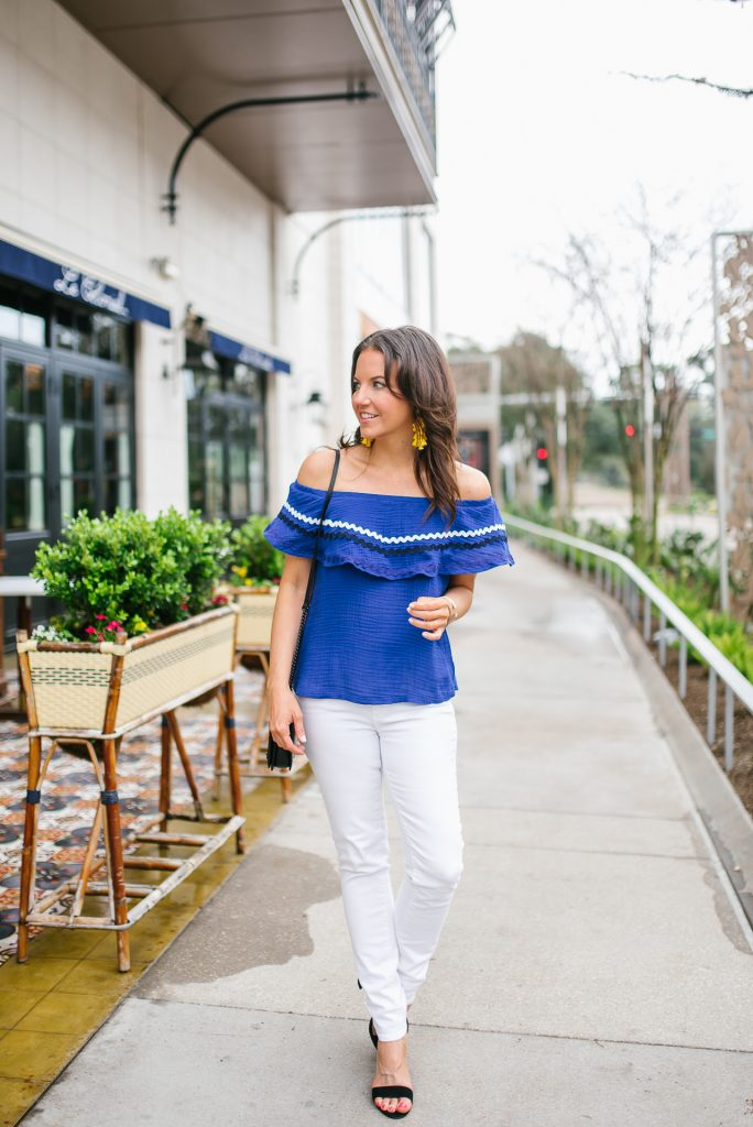 spring outfit | blue off the shoulder top | white jeans | Houston Fashion Blogger Lady in Violet
