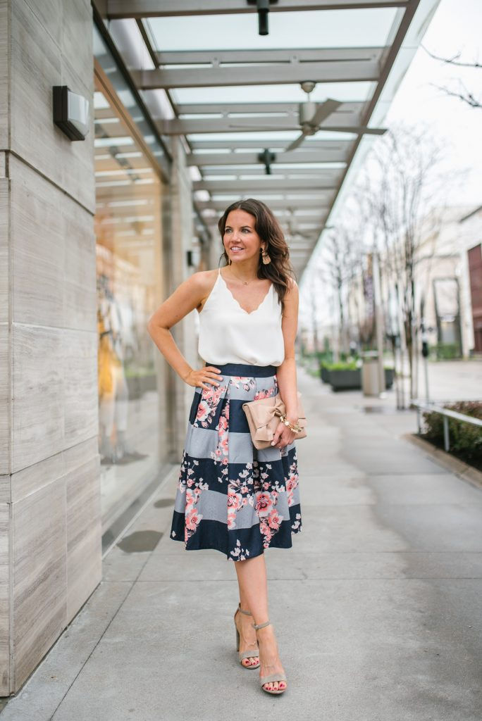 spring outfit | ivory cami | floral midi skirt | Petite Fashion Blogger Lady in Violet