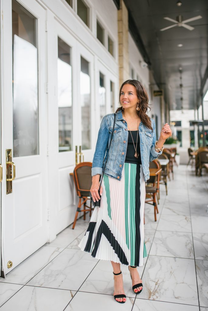 spring outfit | pleated midi skirt | denim jacket | Houston Fashion Blogger Lady in Violet