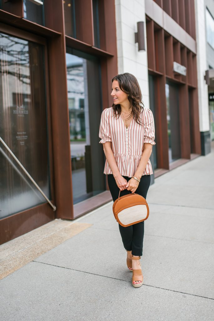 spring outfit | pink striped top | brown wedges | Petite Fashion Blogger Lady in Violet