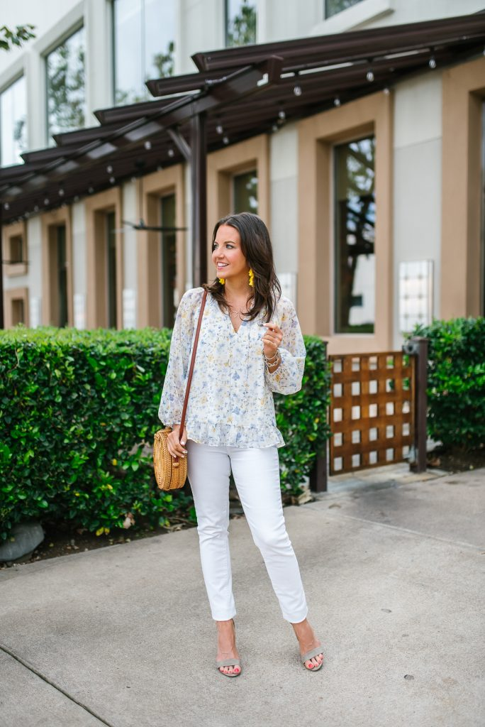 spring outfit | white floral blouse | nude colored sandals | Petite Fashion Blogger Lady in Violet