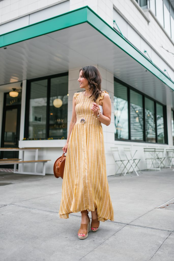 spring outfit | yellow maxi dress | wedge sandals | Petite Fashion Blogger Lady in Violet