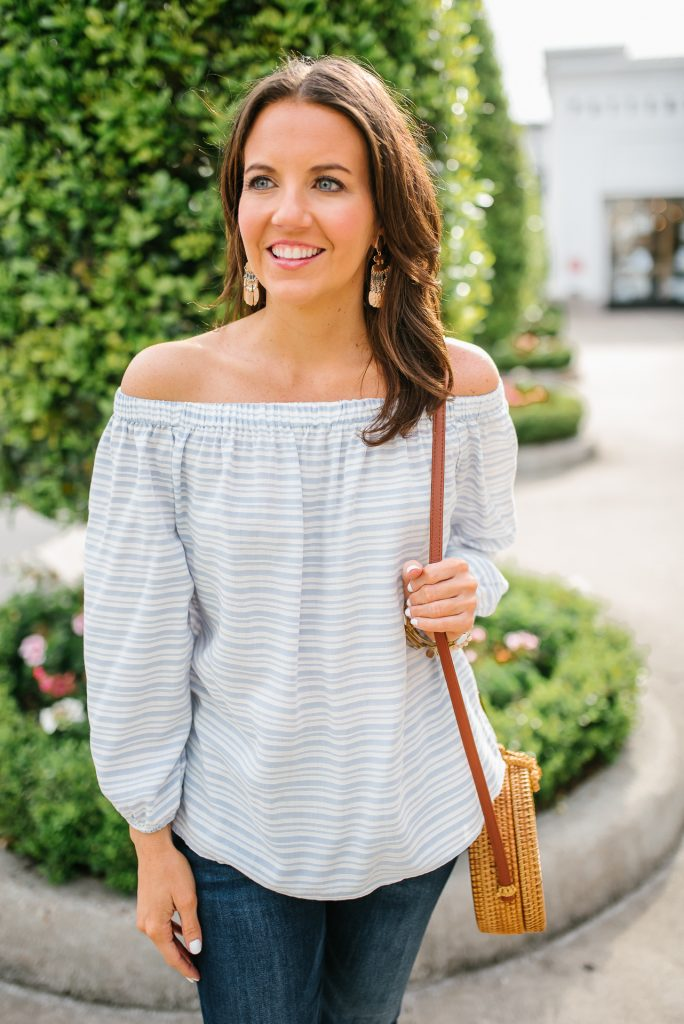 casual outfit | striped off the shoulder top | rose gold earrings | Houston Fashion Blogger Karen Kocich