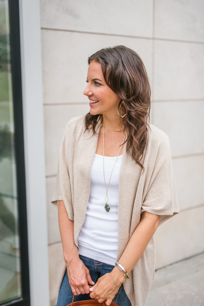 layered spring outfit | short sleeve cardigan | white tank top | Houston Fashion Blogger Lady in Violet