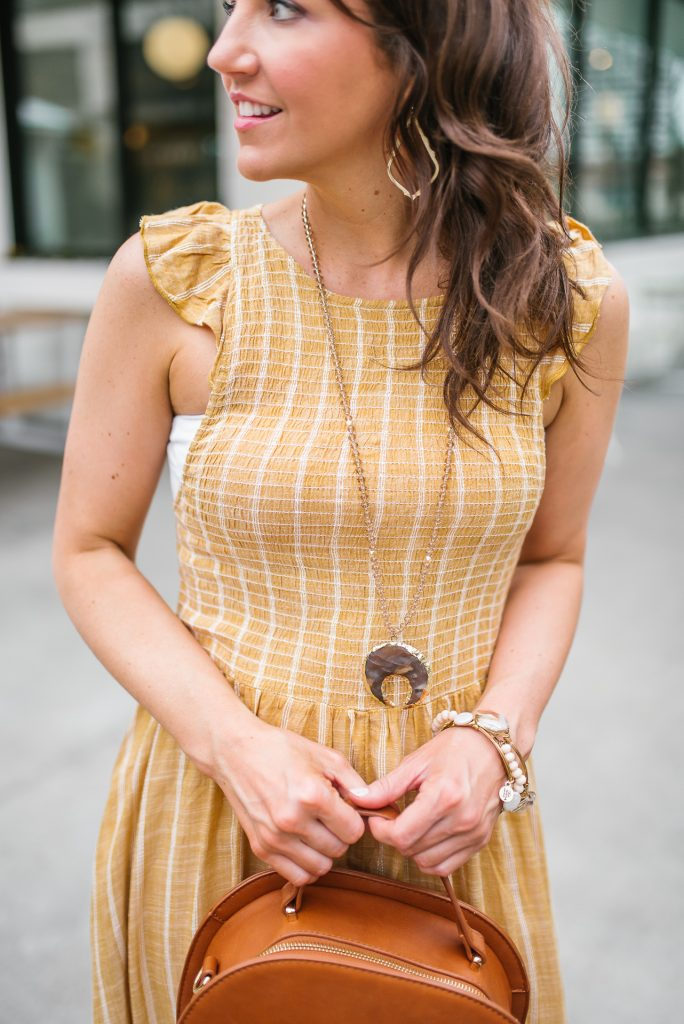 Summer outfit | yellow dress | stone pendant necklace | Houston Fashion Blogger Karen Kocich