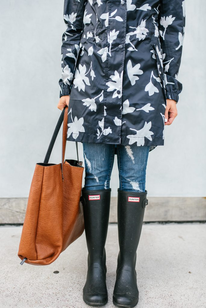 rainy day must haves | lightweight raincoat | black matte rain boots | Houston Fashion Blogger Lady in Violet