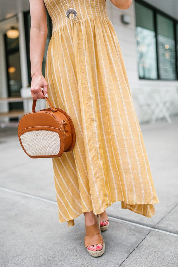 spring outfit | yellow maxi dress | brown wedges | Petite Fashion Blogger Lady in Violet