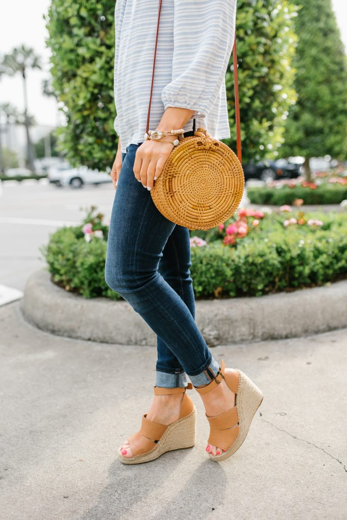 Spring outfits | straw circle bag | brown wedges | Petite Fashion Blogger Lady in Violet