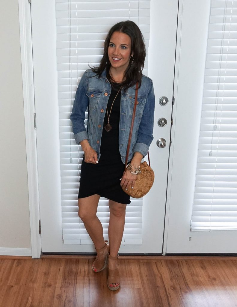 Spring outfit ideas | black dress with denim jacket | Petite Fashion Blogger Lady in Violet