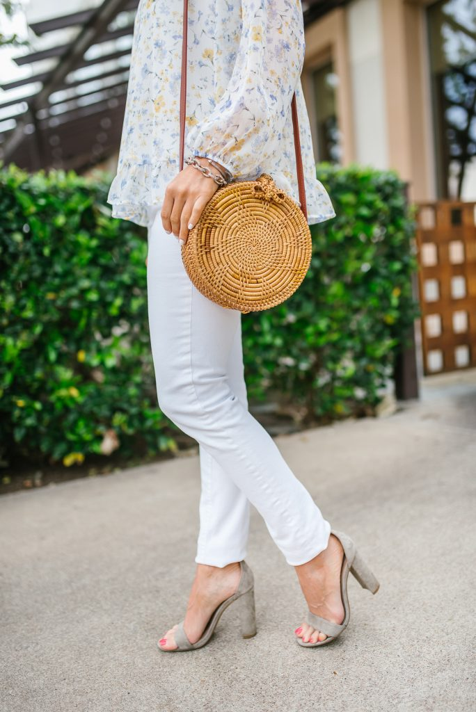 summer outfit | white jeans | straw circle bag | Petite Fashion Blogger Lady in Violet