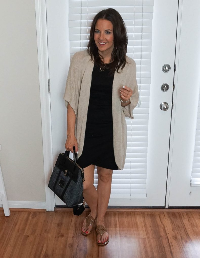 casual outfit | fitted black dress | beige cardigan | Houston Fashion Blogger Lady in Violet
