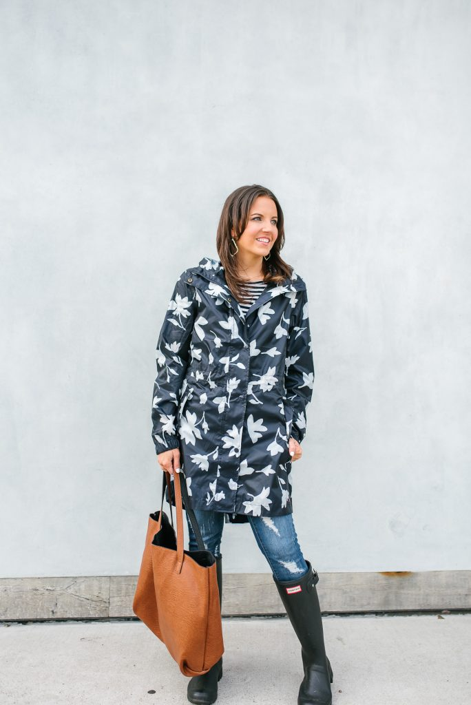 navy floral rain coat | distressed jeans | black hunter boots | Petite Fashion Blogger Lady in Violet