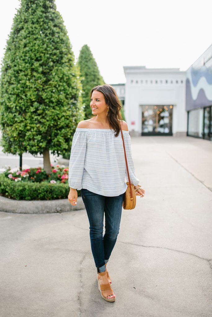 weekend outfit | off the shoulder top | dark wash jeans | Houston Fashion Blogger Lady in Violet