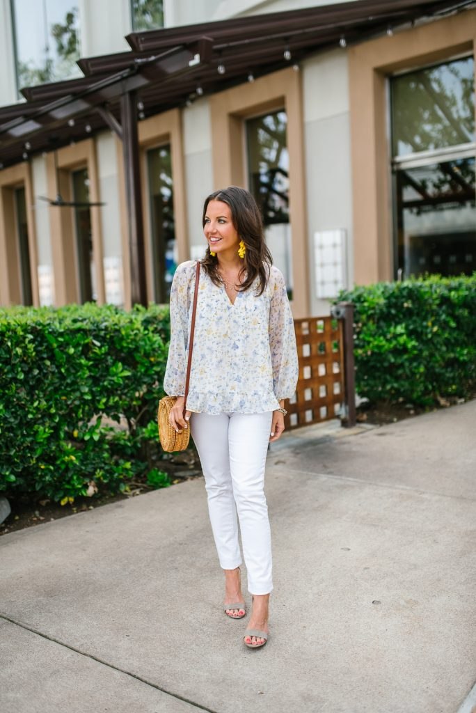 casual outfit | white floral top | block heel sandals | Petite Fashion Blogger Lady in Violet