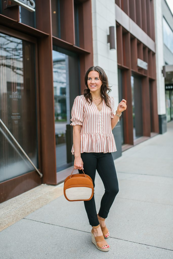 casual spring outfit | ruffle hem top | brown crossbody bag | Houston Fashion Blogger Lady in Violet