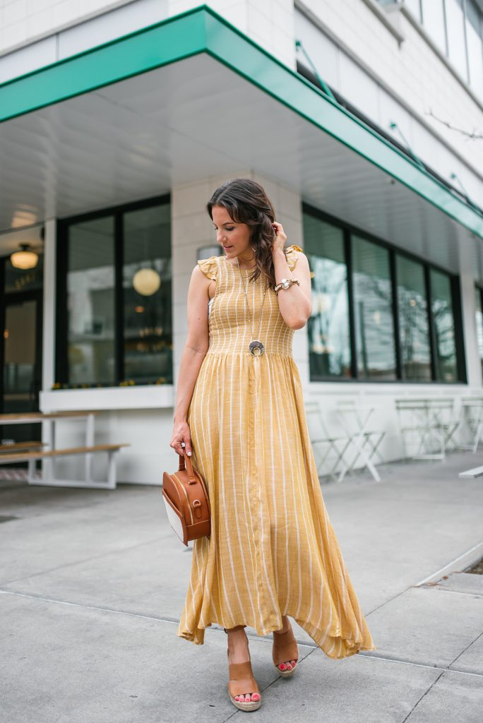 casual summer outfit | long yellow dress | wedge sandals | Petite Fashion Blogger Lady in Violet