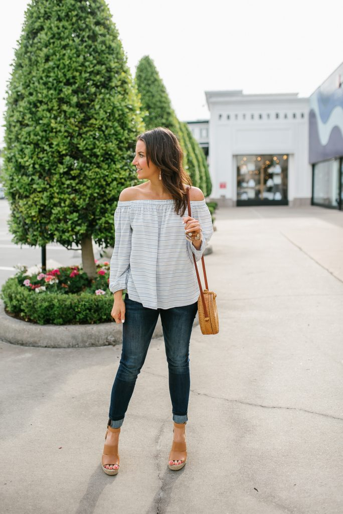 Spring outfit | blue off the shoulder top | dark wash skinny jeans | Petite Fashion Blogger Lady in Violet