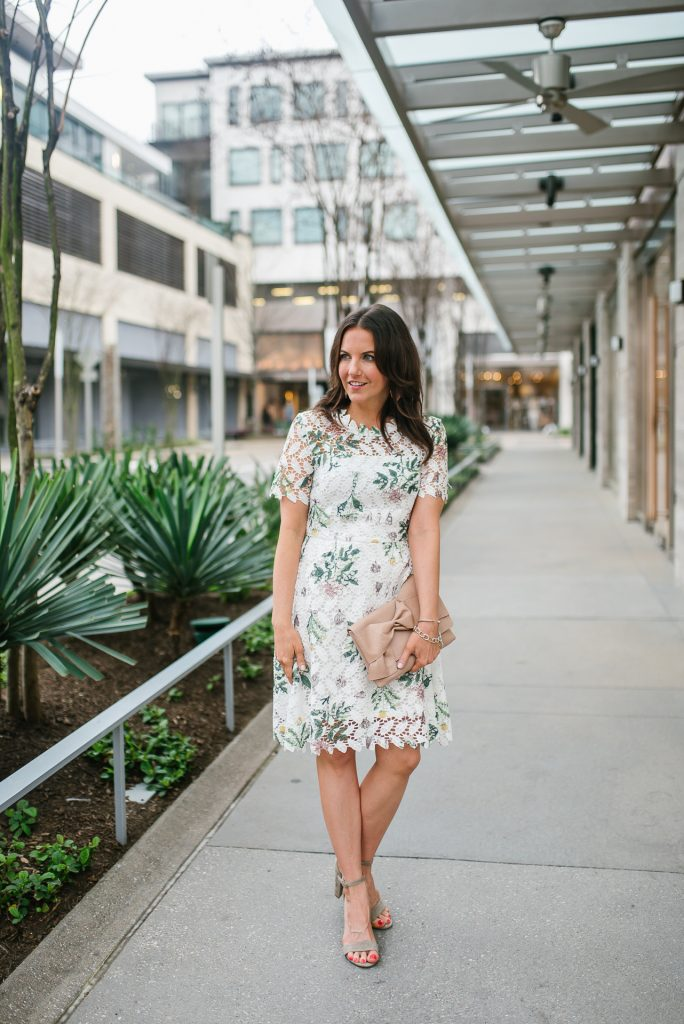 spring outfit | floral white dress | taupe sandals | Petite Fashion Blogger Lady in Violet