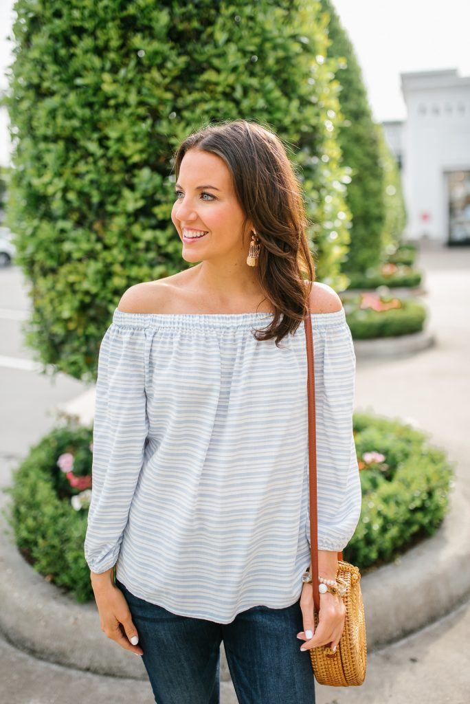 casual spring outfit | striped off the shoulder blouse | rose gold earrings | Houston Fashion Blogger Lady in Violet