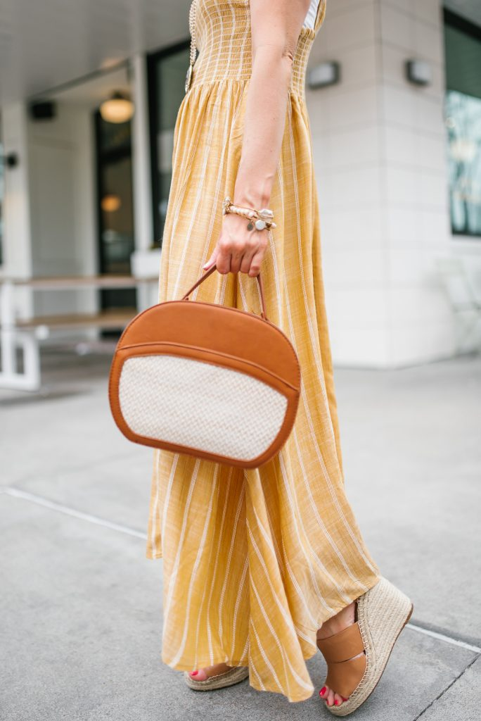 casual weekend outfit | yellow maxi dress | brown crossbody bag | Houston Fashion Blogger Lady in Violet