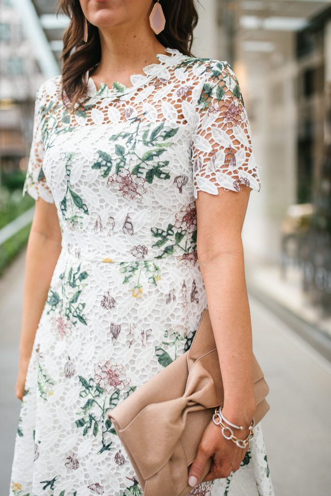 Spring luncheon outfit | pink statement earrings | floral lace dress | Houston Fashion Blogger Lady in Violet
