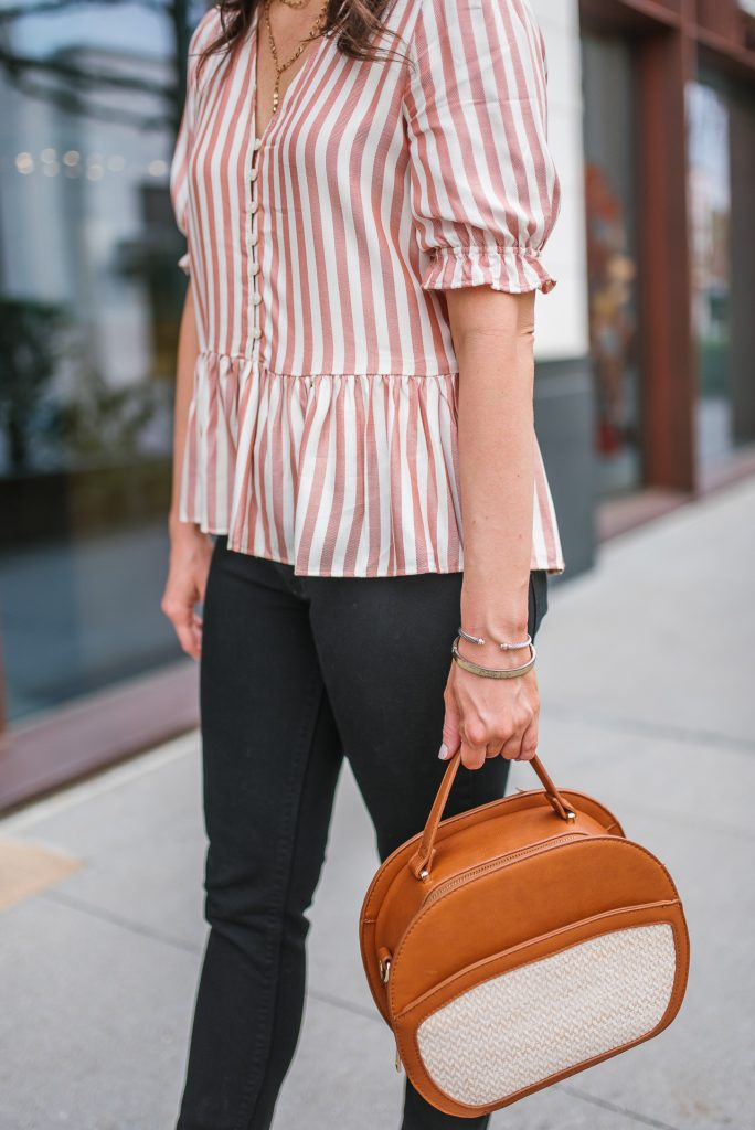 spring outfit | pink striped top | black jeans | Houston Fashion Blogger Lady in Violet