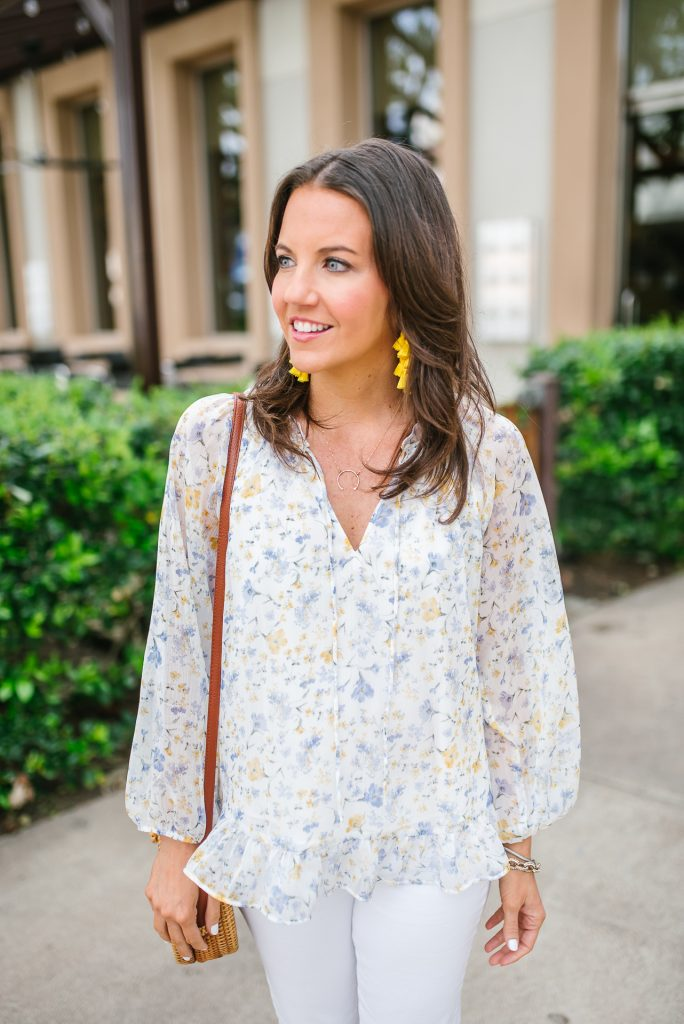 spring outfit | yellow earrings | floral top | Houston Fashion Blogger Lady in Violet