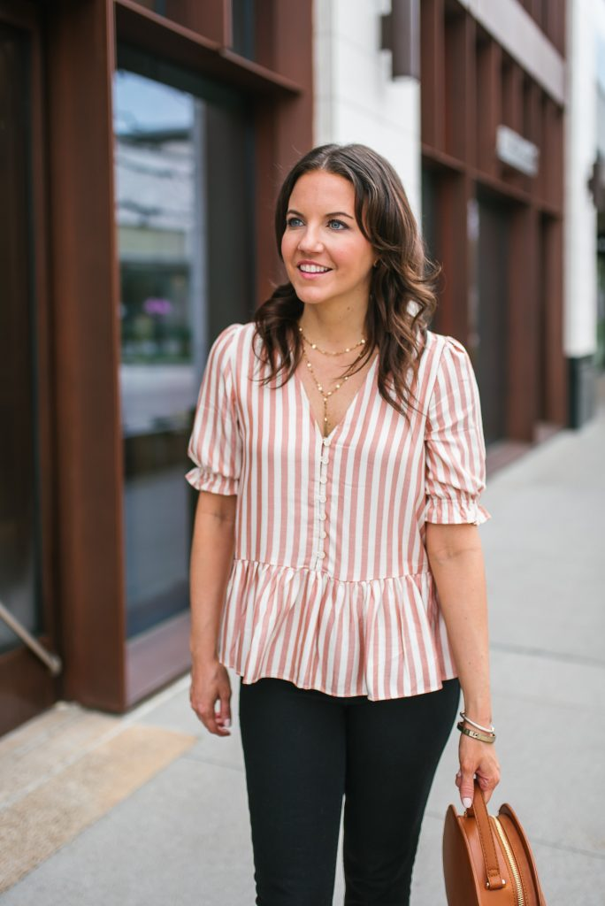 casual outfit | layered gold necklace | pink ruffle top | Houston Fashion Blogger Lady in Violet