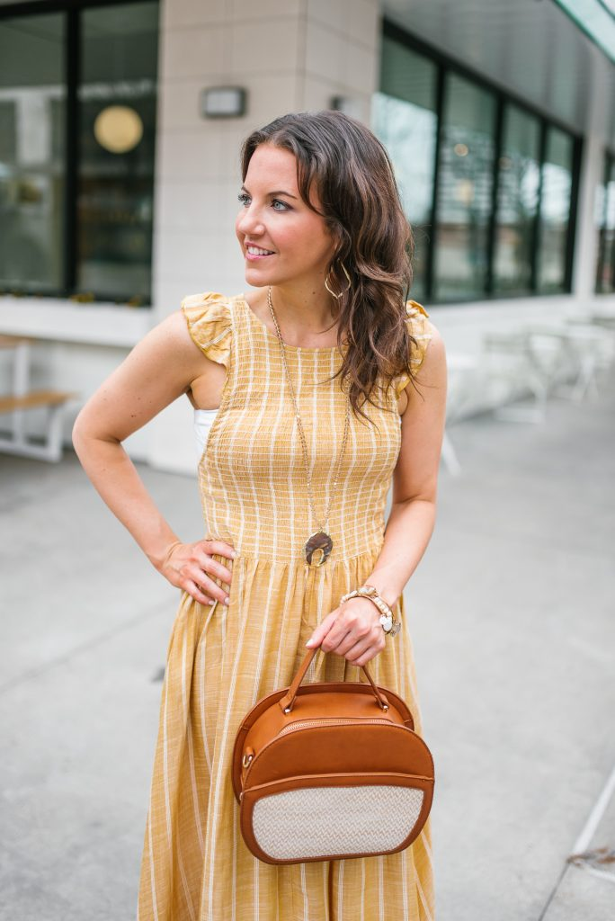 casual spring outfit | yellow sun dress | stone pendant necklace | Houston Fashion Blogger Lady in Violet