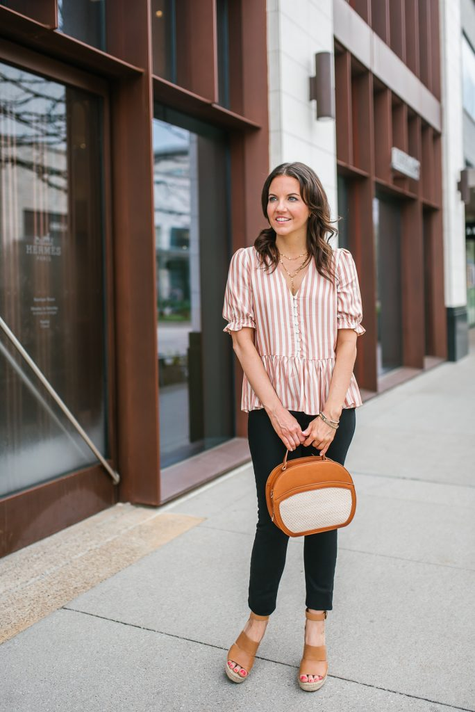 spring outfit | pink striped top | brown wedge sandals | Houston Fashion Blogger Lady in Violet