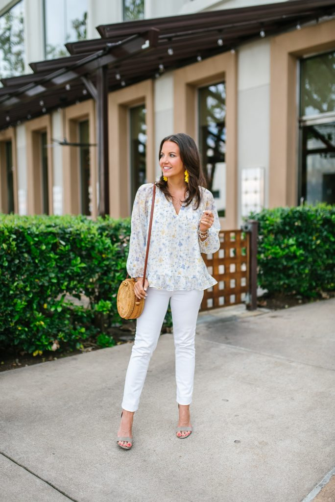 spring outfit | White floral blouse | white denim | Petite Fashion Blogger Lady in Violet
