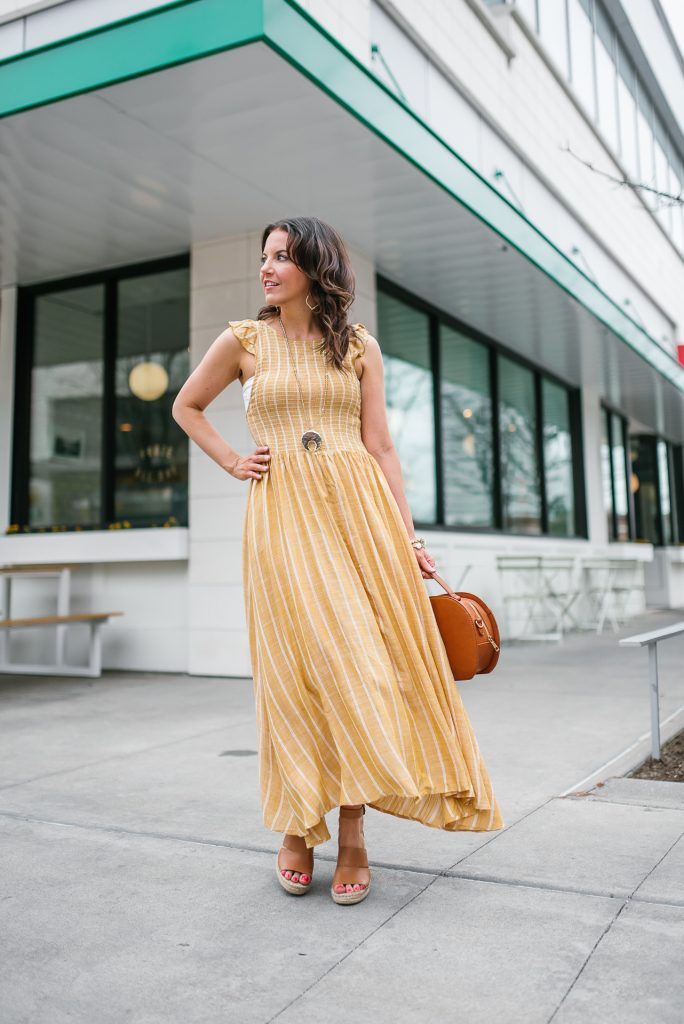 spring outfit | yellow maxi dress | petite fashion blogger Lady in Violet