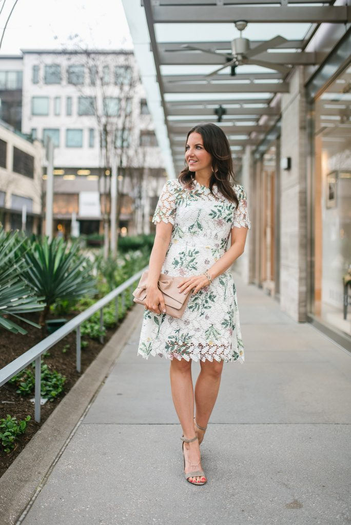 spring outfits | floral lace dress | pink earrings | Houston Fashion Blogger Lady in violet