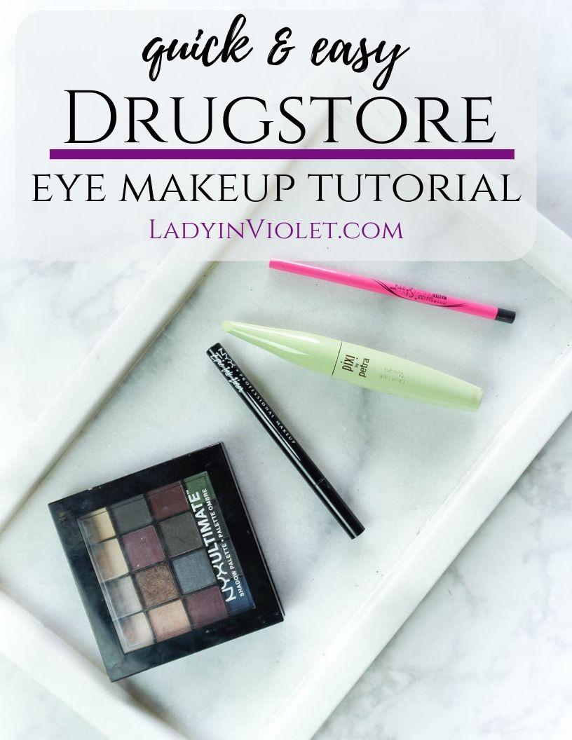 Quick Easy Drugstore Eye Makeup Tutorial Lady In Violetlady In Violet